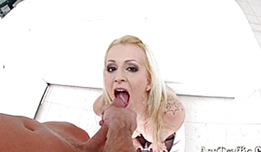 Blonde Vixen Gets Both Her Holes Filled At The Same Time