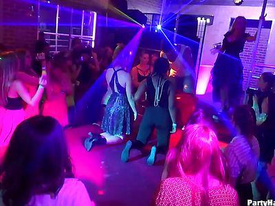 Drunk Girls Go Wild In The Club With A Stripper