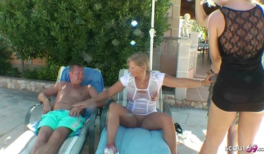 GERMAN WIFE MADE HUSBAND TO CUCKOLD AND FUCK GUY AT HOLIDAY