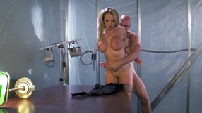 Busty Blonde Is Being Punished On The Big Table