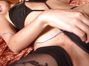 Risa Misaki In Black Lingerie Uses Sex Toys To Satisfy Her Pussy