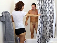 Naughty Girl Surprised Her Step Brother In The Shower And Blows Him