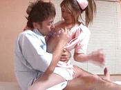 Joyful Japanese Nurse With Nice Boobs Goes Facial On The Bed