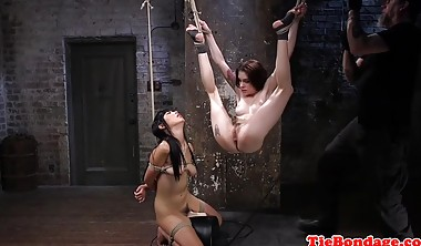 Restrained Bdsm Trio Whipped And Fingered After Oral Sex