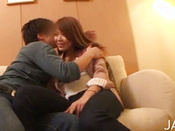 Sexy Asian Cutie Is Kissing Her Macho Man After Lunch