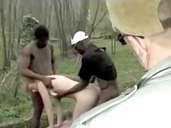 Two Busty Ebony Guys Are Fucking French Lady In The Forest