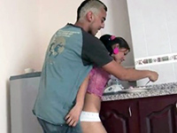 Brother's Little Gf Gets Cornered In The Kitchen