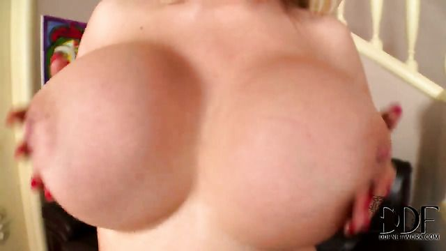 Tiffany Kingston With Giant Breasts And Smooth Bush Cant Stop Playing With Her Bush