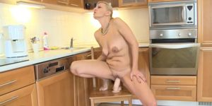 Sexy Housewife Loves Big Huge Dildo On The Chair
