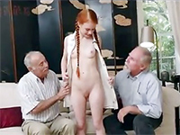Redhead Babe Conned Into Threesome With Two Old Neighbours