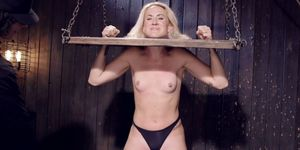 Blonde In Wooden Stock Hard Flogged