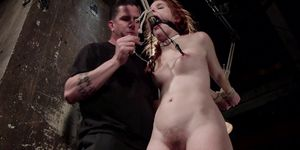 Redhead Gets Waxed In Backbend Bondage