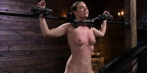 Brunette In Stock Gets Pussy Flogged