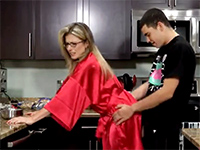 Blonde Milf Gets Rudely Surprised From Behind In The Kitchen