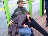 Russian Chick Has No Shame And Joyfully Sucks Cock In Public