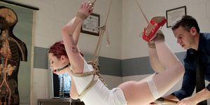 Busty Redhead Nurse Toyed In Hogtie
