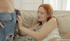 Funny Ginger Teen Girl Plays With A Big Rod
