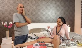 DADDY4K. Black-haired Teen And Mature Guy Enjoy Sensual Sex In Bed