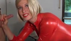 Horny Amateur Blonde Babe In Latex Outfit