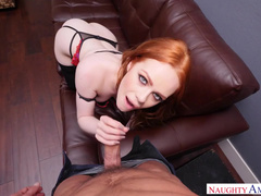 Redhead Ella Hughes In Stockings Likes To Have Sex On Camera