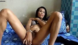 Sexy Brunette Shemale Dildoing