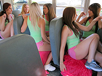 Naughty Cheerleaders Goes Wild On The Back Of The Bus