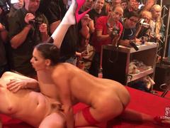 Spectators Watch Henessy And Taissia Shanti Having Lesbian Fun
