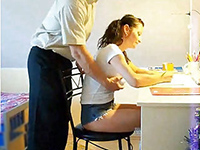 Schoolgirl Thought That Daddy Come To Give Her Shoulder Massage