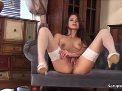 Slim MILF In Stockings Chelsea French Loves To Masturbate