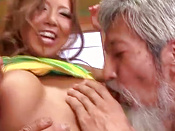 Pretty Japanese Chick Delights Two Horny Old Men