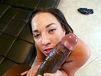 Brunette Slut Savors The Brutality Of A Big Black Cock