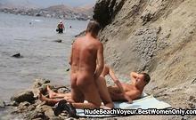 Threesome Blonde Milf Sex Nudist Beach Spycam