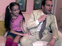 Teen Babysitter Knows How To Relax Tense Daddy