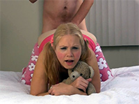 Teen Hugs Her Teddy Bear While Getting Anal Fucked