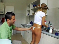 Blonde Girl Treated To A Hard Fucking On The Kitchen Table