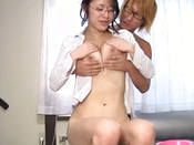 Bespectacled Japanese Chick Receives Lusty Tits Fondling